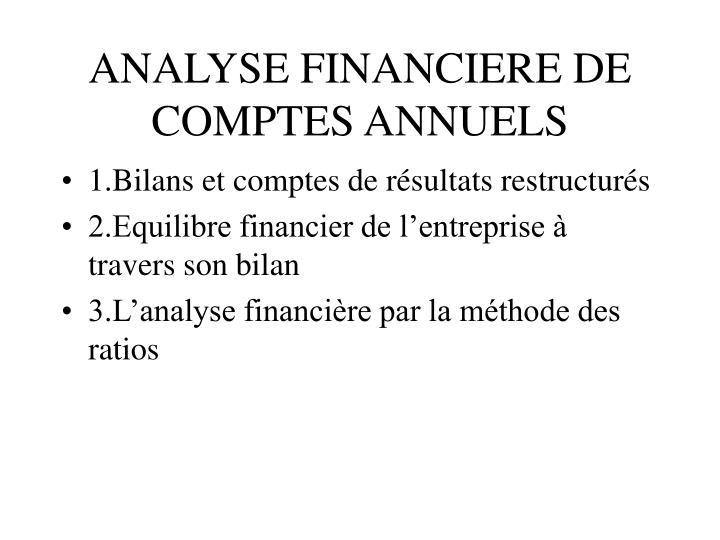 ANALYSE FINANCIERE DE COMPTES ANNUELS