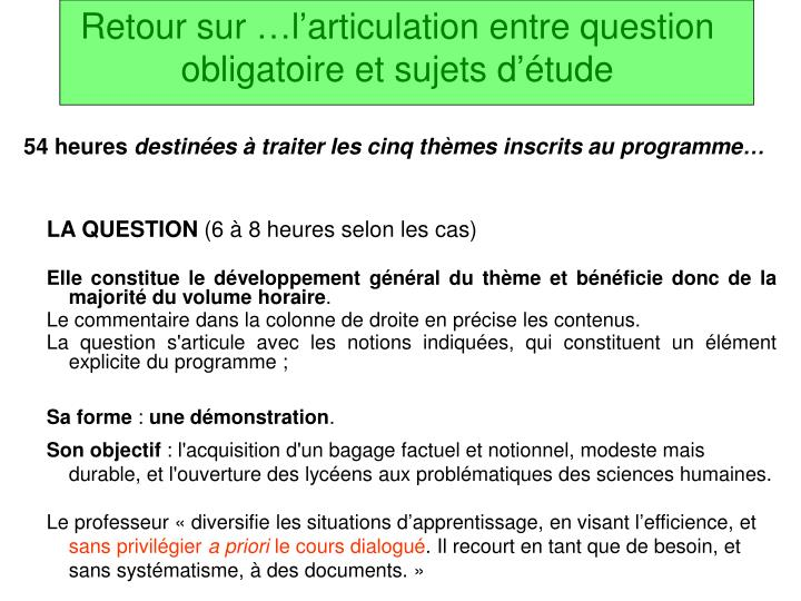 Retour sur …l'articulation entre question obligatoire et sujets d'étude