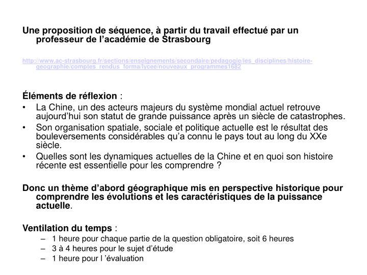 Une proposition de séquence, à partir du travail effectué par un professeur de l'académie de Strasbourg