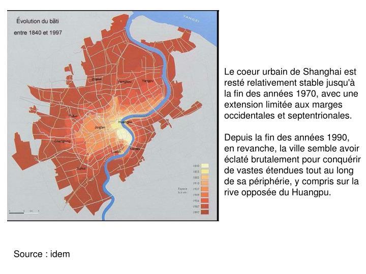 Le coeur urbain de Shanghai est resté relativement stable jusqu'à la fin des années 1970, avec une extension limitée aux marges occidentales et septentrionales.