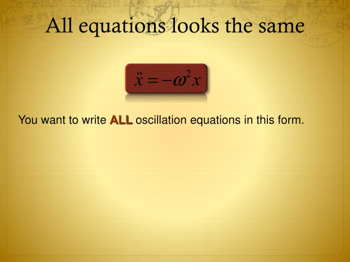 All equations looks the same