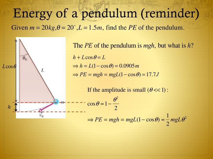 Energy of a pendulum (reminder)