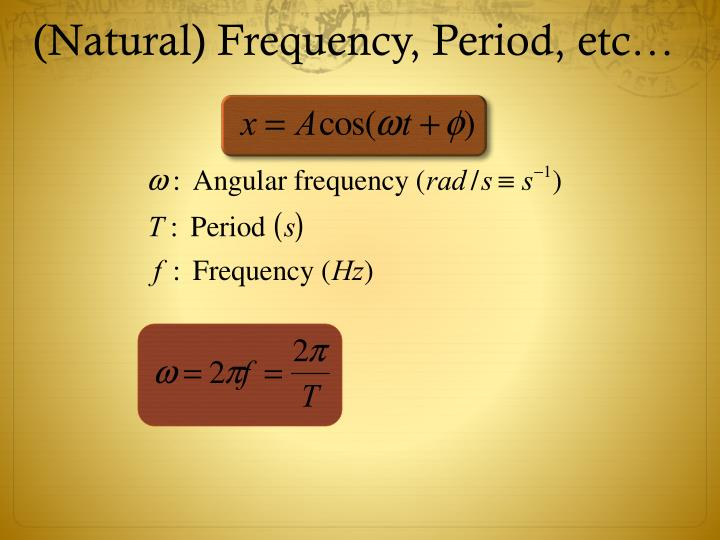 (Natural) Frequency, Period, etc…
