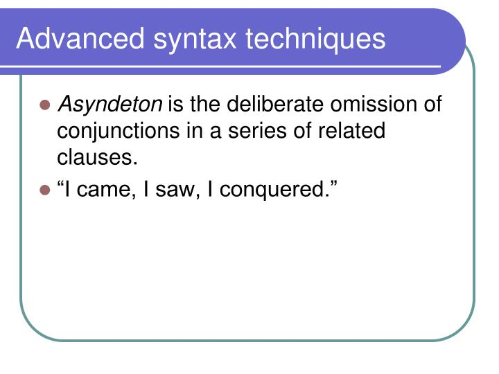 Syntax Beginning a Sentence And or But