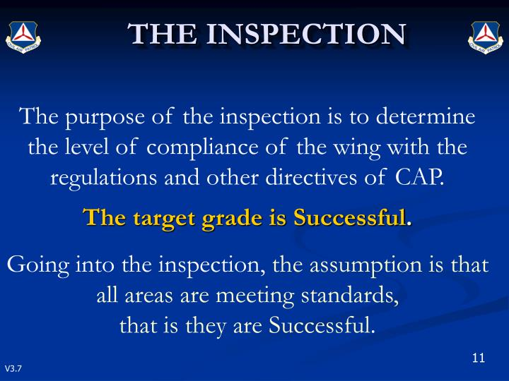 The purpose of the inspection is to determine the level of compliance of the wing with the regulations and other directives of CAP.