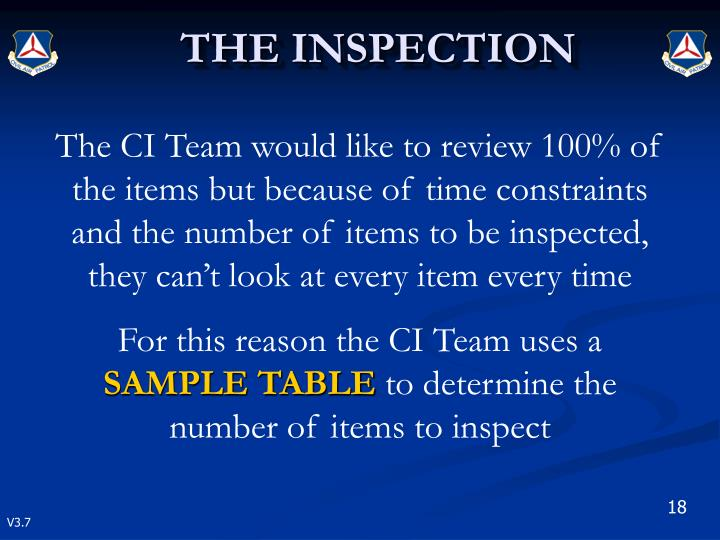 The CI Team would like to review 100% of the items but because of time constraints and the number of items to be inspected, they can't look at every item every time