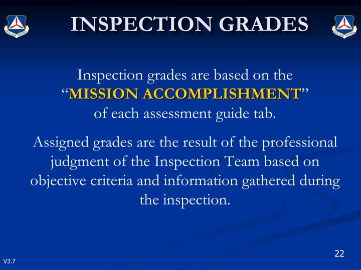 Inspection grades are based on the