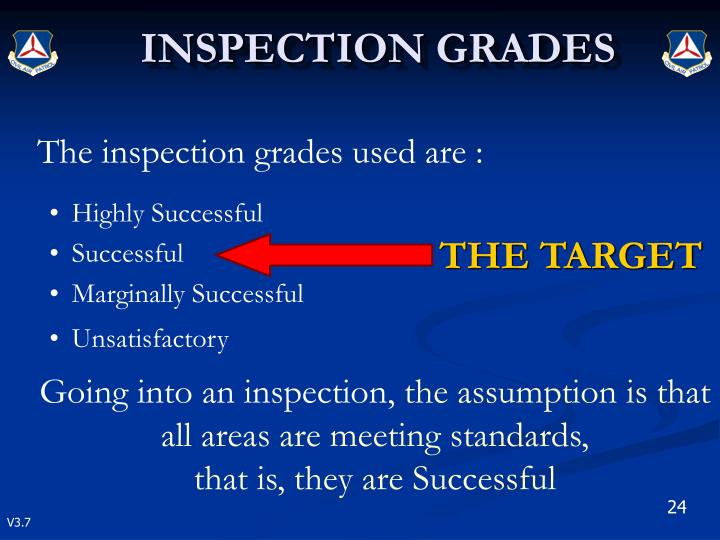The inspection grades used are :