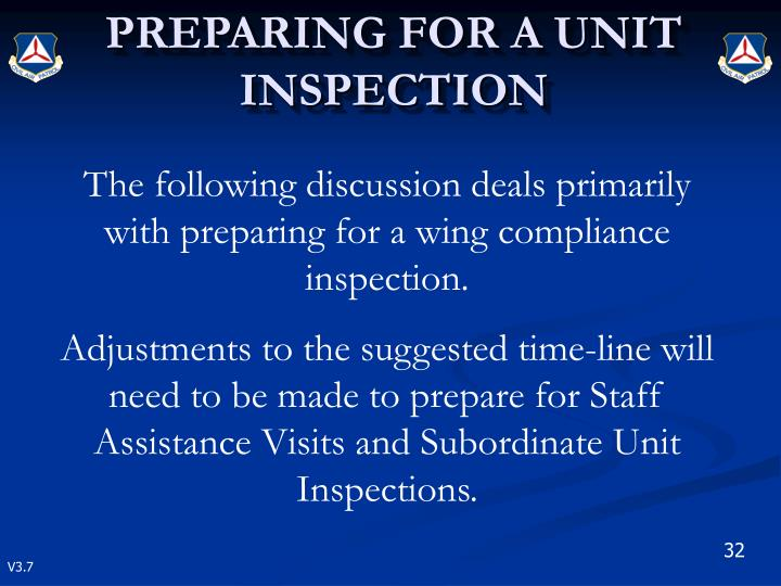 The following discussion deals primarily with preparing for a wing compliance inspection.