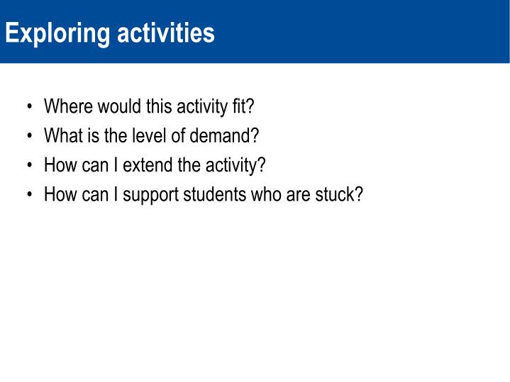 Where would this activity fit?