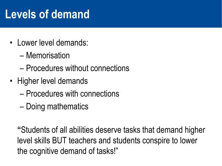 Levels of demand