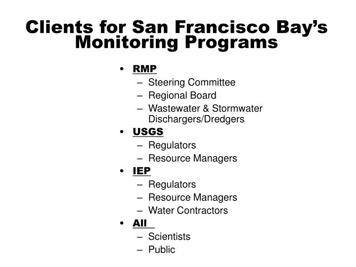Clients for San Francisco Bay's Monitoring Programs