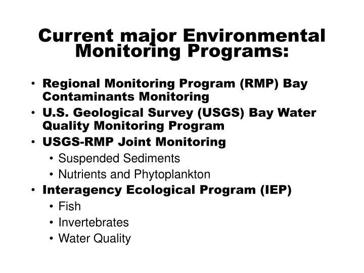 Current major Environmental Monitoring Programs: