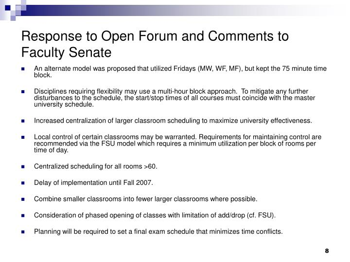 Response to Open Forum and Comments to Faculty Senate