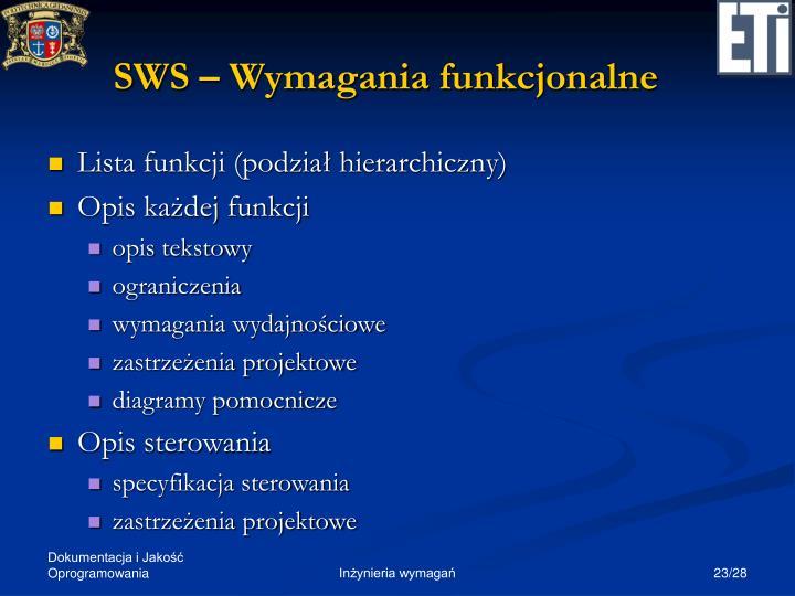 SWS – Wymagania funkcjonalne