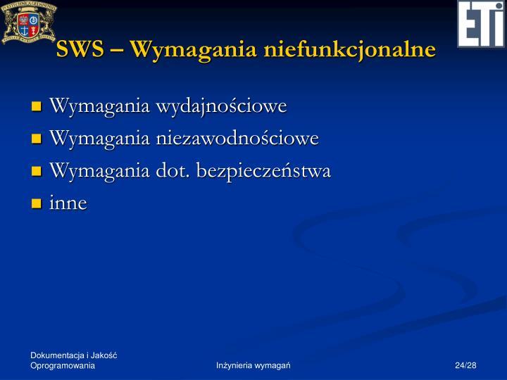 SWS – Wymagania niefunkcjonalne
