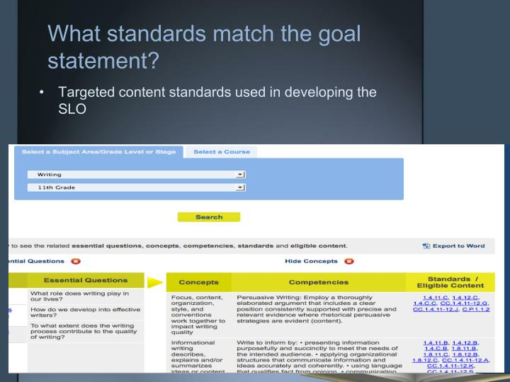 What standards match the goal statement?
