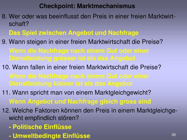 Checkpoint: Marktmechanismus