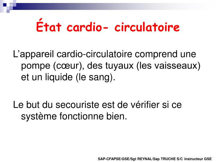 État cardio- circulatoire
