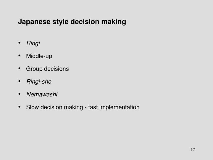Japanese style decision making