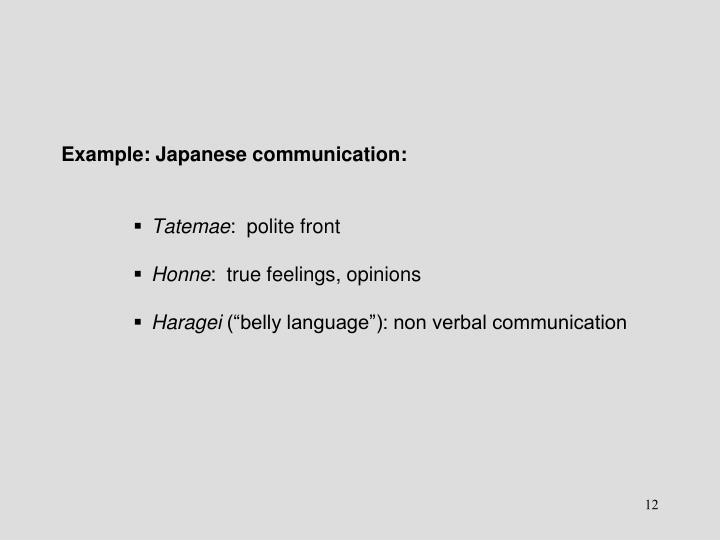 Example: Japanese communication: