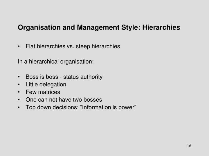 Organisation and Management Style: Hierarchies