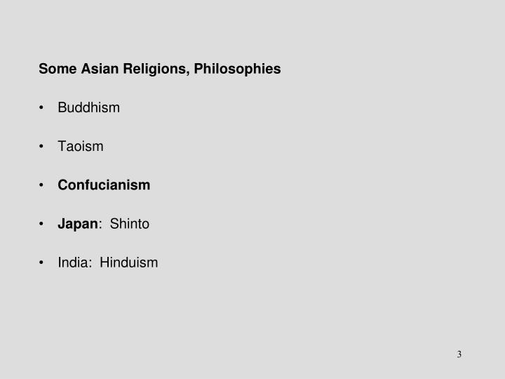 Some Asian Religions, Philosophies