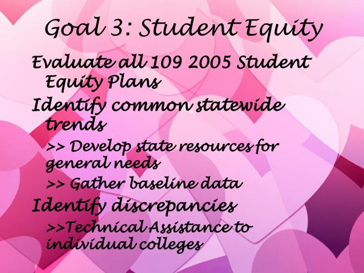 Goal 3: Student Equity