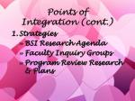 points of integration cont