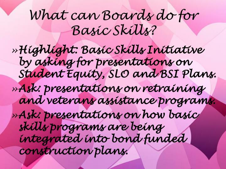 What can Boards do for Basic Skills?