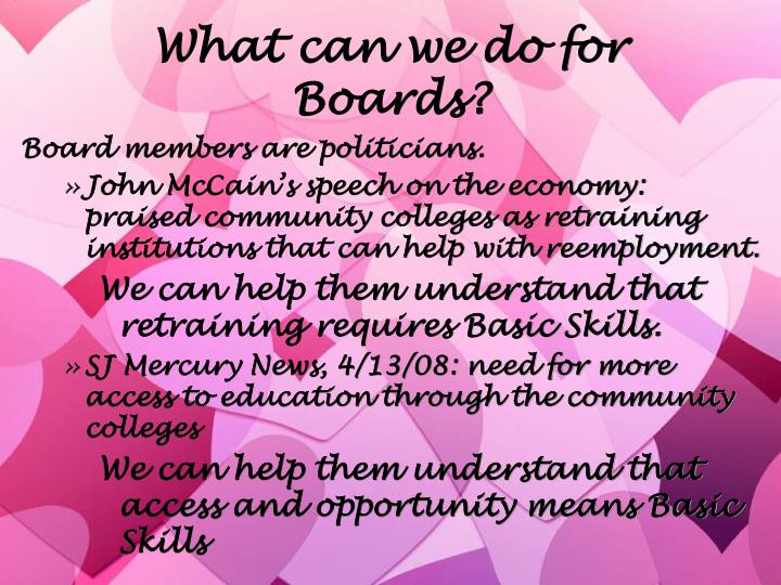 What can we do for Boards?