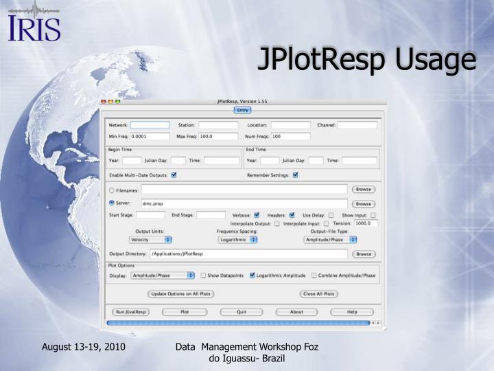 JPlotResp Usage
