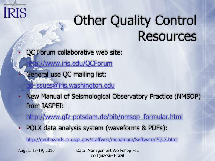 Other Quality Control Resources