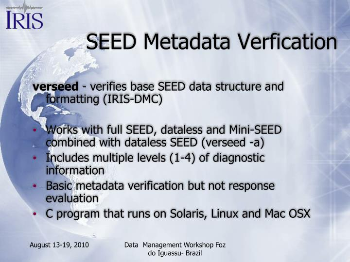 SEED Metadata Verfication