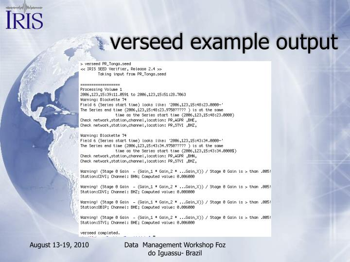 verseed example output