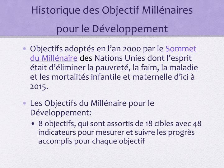 Historique des Objectif Millénaires pour le Développement