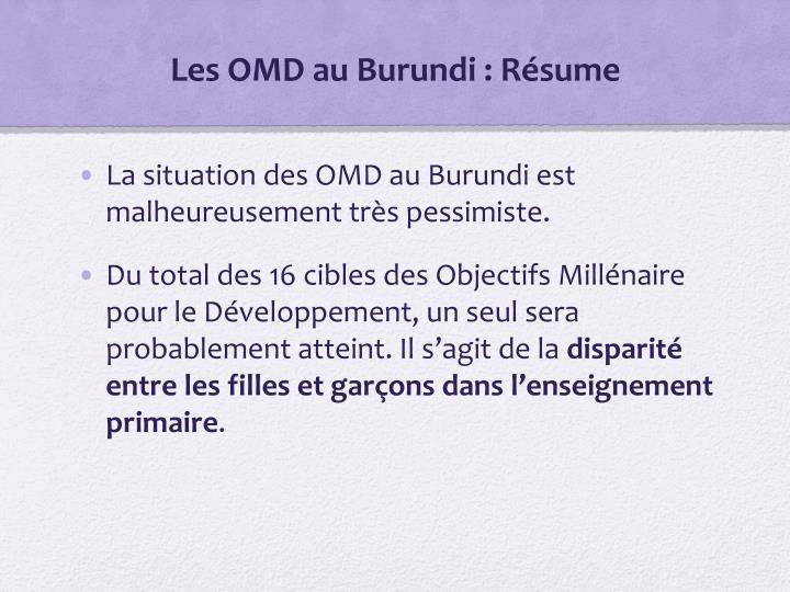 Les OMD au Burundi : Résume