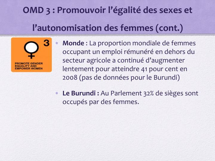OMD 3: Promouvoir l'égalité des sexes et l'autonomisation des