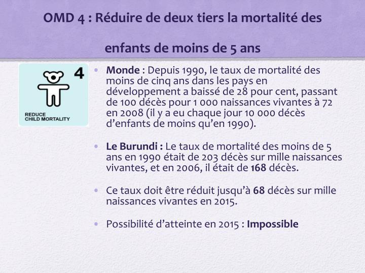 OMD 4: Réduire de deux tiers la mortalité des enfants de moins de 5 ans