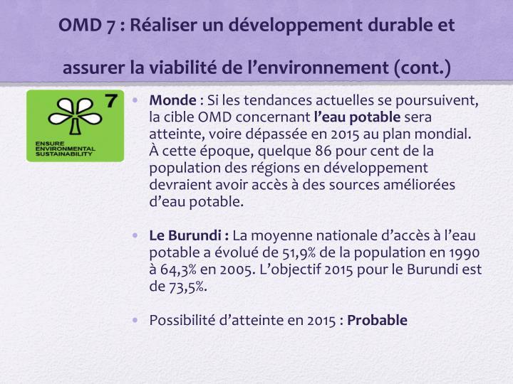 OMD 7: Réaliser un développement durable et assurer la viabilité de