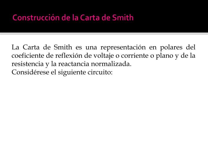 Construcción de la Carta de Smith
