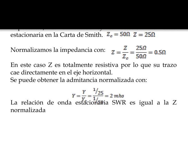 Ej. 1.- En el siguiente ejemplo esboce como se traza la impedancia, la admitancia y la relación de onda estacionaria en la Carta de Smith.