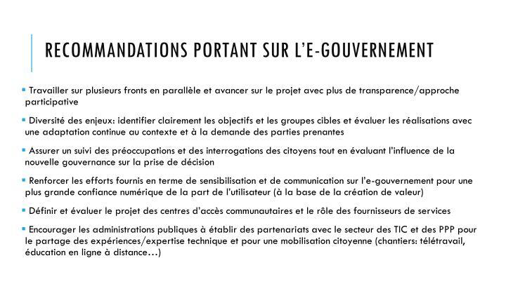 Recommandations portant sur l'e-gouvernement
