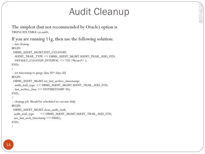 Audit Cleanup