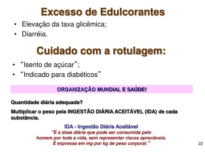 Excesso de Edulcorantes