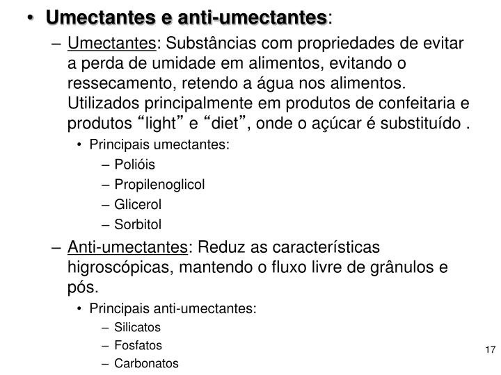 Umectantes e anti-umectantes