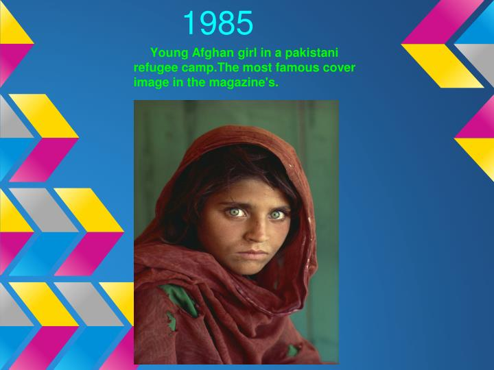 Young Afghan girl in a pakistani refugee camp.The most famous cover image in the magazine's.