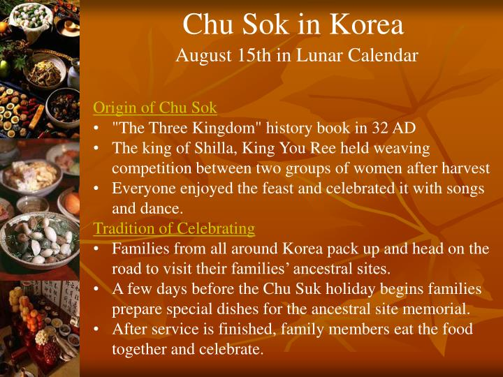 Chu Sok in Korea