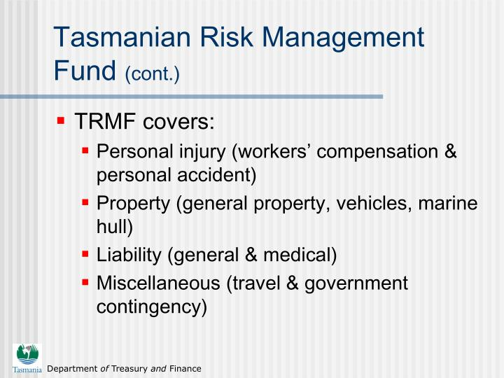 Tasmanian risk management fund cont