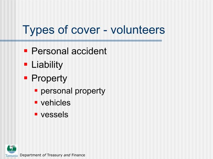 Types of cover - volunteers